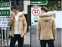 Wholesale black long winter parkas for men resale online - Men Parka Coat Men Warm Korean Style Padded Jacket Male Hooded Casual Winter Coats Plus Size XL Army Green for Men Hooded Jacket