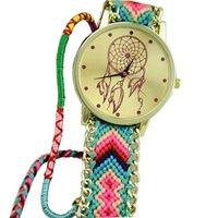 relojes de amistad al por mayor-Multicolor Dreamcatcher Amistad Mujeres Pulsera Relojes Mujeres Tela Trenza Vestido Estilo Étnico Reloj de Cuarzo Relojes Mujer