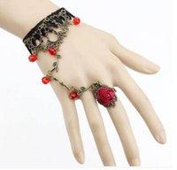 розовое кольцо из кружева с кружевами оптовых-Викторианский Стиль Черный Кружевной Цветочный Цветок Розы Звено Цепи Раба Браслет Кольцо Набор Гот