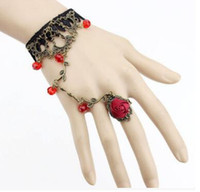 anillo de pulsera de encaje flor rosa al por mayor-Estilo Victoriano Encaje Negro Rose Flower Link Chain Slave Bracelet Ring Set Goth