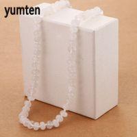 медальон с бижутерией оптовых-Yumten White Crystal Party Necklace Power Round Natural Stone Women Men Jewelry Vintage Pineapple Locket Gothic Chocker Gift