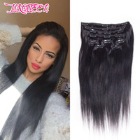Wholesale hair weave clip resale online - Brazilian Full Head Straight Hair inch Clip In Hair Extensions Unprocessed Human Hair Weave Natural Color g Beauty