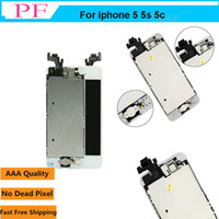 Wholesale lcd piece - 1 Piece Grade AAA Touch Screen LCD For iPhone 5 5G 5C Assembly Replacement Screen Digitizer with Home Button + Front Camera