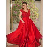 ingrosso eleganti corti vestiti rossi maniche lunghe-Abiti lunghi da donna elegante con scollo a V e maniche lunghe con scollo a V e maniche lunghe con paillettes