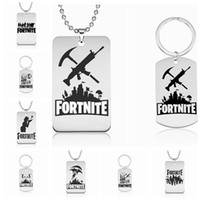 Discount logo carabiner - Fortnite Keychains Pendant Necklace DHL Ship 20 Style Stainless Steel Hot FPS Game Logo Men Women Memento Popular Jewelry wholesale