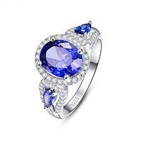 joyas para la venta de aniversario al por mayor-Nueva Blue Zircon anillo de compromiso de lujo Lady Ball Party joyería de la mujer joyería fina aniversario regalo de venta