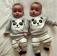Wholesale panda clothes summer for sale - 2018 Fashion Baby Clothing Kids Newborn Boys Girls Long Sleeve Panda T shirt Striped Pants Infant Clothes Outfits Tracksuits