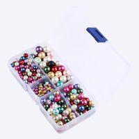 perlas de colores mezclados al por mayor-Colores mezclados 4-10mm Forma Redonda Perlas de Cristal de Imitación Para La Joyería Que Hace DIY Pendientes Pulsera Collar de Cuentas G191L