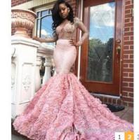 robes de soirée sud-africaines achat en gros de-2k17 robes de bal rose manches longues sexy voir à travers manches longues robes de soirée sirène dos ouvert sud africain robe de soirée