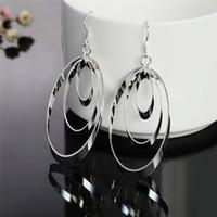 три круглых серьги оптовых-New Fashion 925 Silver Geometric Oval Three Circle Dangle Earrings Jewelry Temperament Ladies Fashion Earrings Sale