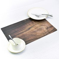 Wholesale catering utensils - Wood Grain Printing Dining Tables Place Mats for Wedding Party Eat Tableware Utensil Restaurant Decor Catering Accessories P20
