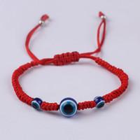 esferas de resina à venda venda por atacado-Venda quente Sorte Corda Vermelha Fio de Corda Mulheres Resina Contas Azuis Amantes de Casais Pulseira Moda Jóias Presentes