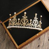 ingrosso accessori da cerimonia nuziale diretta della fabbrica-Fabbrica diretta nuziale capelli gioielli perla compleanno corona tiara accessori da forno Nuovo stile