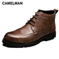 мужская мода лодыжки обувь оптовых-New Fashion Winter Men Ankle  Boots High Quality Leather Lace Up Platform Bota Male Motorcycle Boots Shoes Hombre Zapatos