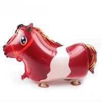Wholesale Red Ballons - Wholesale- 11.11 10pcs PVC Red Horse Walking Helium Pet Balloon Ballons Toy