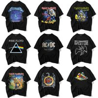 ropa de soltera al por mayor-Hombres de alta calidad camiseta negra S-XXL impreso Iron Maiden Rock Band camiseta en 9 estilos de marca de ropa de manga corta