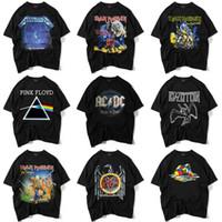 ingrosso stile di abbigliamento nero-T-shirt nera da uomo di alta qualità S-XXL T-shirt nera da uomo stampata rock band in 9 stili di abbigliamento di marca manica corta