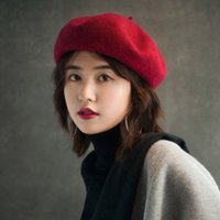 baskenmützen für mädchen groihandel-Heiße Verkaufs-Barett-weibliche Winter-Hüte für Frauen-flache Kappe stricken Kaschmir-Hüte 100% Dame Girl Berets Hut-Knochen-weiblicher Maler Hat Free Shipping