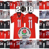 Wholesale roses man - NCAA Georgia Bulldogs #11 Jake Fromm 27 Nick Chubb 7 DAndre Swift 3 Roquan Smith Black Red White 2018 Rose Bowl Championship Jerseys