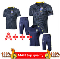 Wholesale camp pants - national team brazil survetement soccer tracksuit World Cup Brazilians Maillot de foot short slevees pants football shirt uni