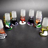 ingrosso parrucca di fumo-Nuovo 14 millimetri maschili parrucca scodella di vetro con manico colorato fumando Bong Bocce pezzo per tubi di vetro di tabacco Bongs Dab Rigs
