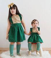 ingrosso i bambini vestono il neckline dell'increspatura-Lovely Baby Girls Bambini Little Kids Ruffle Paillettes Pagliaccetto Abito a pieghe Scollo quadrato Partito Mini abiti senza maniche vestito