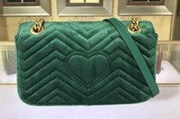 Wholesale Cover Slides - AAAAA Qaulity 26cm 443497 Marmont Small Chevron Velvet Shoulder Bag,Sliding chain strap Antique hardware,Silk Lining, Come with Dust Bag