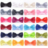 ingrosso cravatta gialla in mensola-Uomini Solid Bow Ties Gentleman Butterfly Wedding Party Bowtie Papillon Regolabile Affari Legami 35 colori OOA4318