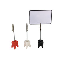 Wholesale Desktop Business - Creative Tooth Shape Place Card Holder Party Souvenirs Teeth Notes Clips Desktop Name Business Card Clamp ZA6419