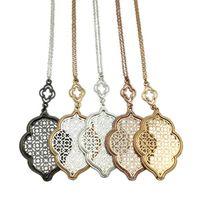 Wholesale filigree pendants - whole saleLET IT BE Hollow Teardrop Filigree Pendant Long Necklace for Women Statement Jewelry