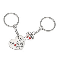 wholesale heart keyrings 2018 - 1 Set I LOVE YOU Car Keychain Lovely Gift For Lovers Couples Key Chain Fashion Jewelry Romantic Keyring Heart Auto Key Ring