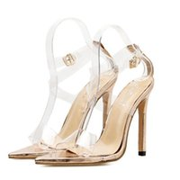 d7daeec3450dd Women Shoes High Heels 2018 Summer New Pattern Fashion Sexy Transparent  Cusp Head Woman Champagne Gold Sandals Free Shipping