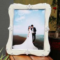 yeni düğün fotoğraf çerçeveleri toptan satış-Kristal Fotoğraf Çerçevesi Dikdörtgen Beyaz Güller Noktalı Fotoğraf Çerçevesi Avrupa Tarzı Düğün Resim Fotoğraf Çerçevesi Yeni Yıl Hediye