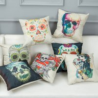 Wholesale Skull Throw - Halloween SkulL Prints Cushion Covers Home Furnishing Cotton Pillow Covers Modern Minimalist Abstract Throw Pillow Cases