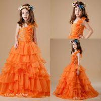 vestido corto naranja para niñas pequeñas al por mayor-Nueva llegada lindo vestido de color naranja muchachas del desfile de la princesa vestido de fiesta de la magdalena vestido de fiesta para la muchacha corta vestido bonito para el niño pequeño