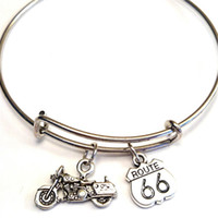 Wholesale bike charms - 12pcs lot Route 66 bracelet Charm bangles adjustable Route 66 Jewelry Bike Davidson