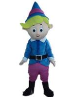 vestindo traje de mascote venda por atacado-2018 Desconto venda de fábrica Boa qualidade um traje de mascote menino pequeno magro com camisa azul para adulto para usar