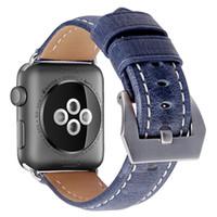 наручные часы кожа оптовых-Синий натуральная кожа ремешок для часов часы аксессуары браслет браслет для iwatch серии 4 2 3 apple ремешок для часов 38 мм ремешок для часов 42 мм 40/44 мм