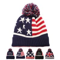 Wholesale crochet star hat - Big children knitting caps Warm winter Ear protection American Flag Hat teenager Fashion Star stripes Hats C4353