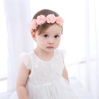 beyaz pembe saç toptan satış-Yeni Bebek Çiçek Bandı Pembe Beyaz Kurdele Yenidoğan Saç Bantları El Yapımı DIY Toddler Şapkalar Saç aksesuarları Çocuklar Için