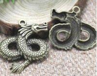 grande dragão venda por atacado-4pcs / lot - encantos Dragão antigo tibetano bronze Tone Extra Large and Beautiful 36x43mm Detalhe