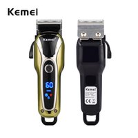 Wholesale shavers razor blades - Kemei 100-240V Fast Charge Electric Clipper Stainless Steel Blade Trimer Cutter Cordless Shaver Razor Men LCD Display KM-1990