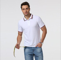Wholesale men s business casual shirts - Brand Designer -2018 Sales Famous Business men shorts sleeve Polo shirts Popular Cotton embroidery Wheat Polos Custom Designer made Fred Dre