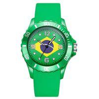 cuarzo brasil al por mayor-Copa Mundial de 2018 Mujeres Hombres Relojes de Silicona Moda Rusia Brasil Bandera Americana Reloj de Cuarzo Sprots Reloj de pulsera Casual Hora