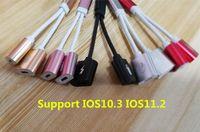 Wholesale earphone audio headset adapter - Support IOS10.3 IOS11.2 New 4In1 Earphone Audio Charge Adapter Cable Listening+Charging+Headset Calling+Headset Controller for iPhone 7 8 X