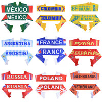 bandeiras nacionais do campeonato do mundo venda por atacado-Rússia Copa Do Mundo de Futebol 2018 Cachecol Fã De Futebol Cachecol Equipe Nacional de 32 Equipes Bandeira Do México Da Bandeira de Futebol Cheerleaders Cachecol