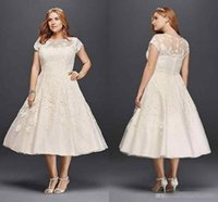 Wholesale Outdoor Modern - Vintage Tea-length Plus Size A-line Garden Outdoor Wedding Dresses 2018 Oleg Cassini Short Sleeve Holiday Beach Sheer Back Bridal Dress
