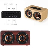Wholesale wooden wireless speakers - High quality W5 Wooden Bluetooth Speaker 10W Output Strong Bass Music Sound High Definition Intelligent Handsfree TF Card Aux Speaker