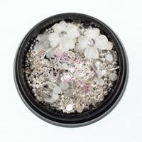 metallkugelkettenketten großhandel-1 Topf Weiß Harz Blume Silber Metall Ball Perlen Kette Bow Alloy Charms Studs Crystal Mix Braut Nail art 3D Design Dekoration