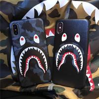iphone soğutma kılıfı toptan satış-Toptan Moda Shark Marka Telefon Kılıfı için Iphone X 7/8 P 7/8 6/6 s P 6/6 s Çevre Dostu TPU 2 Renk ile Serin Köpekbalığı Telefon Kılıfı